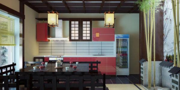 Bucatarie amenajata in stil japonez