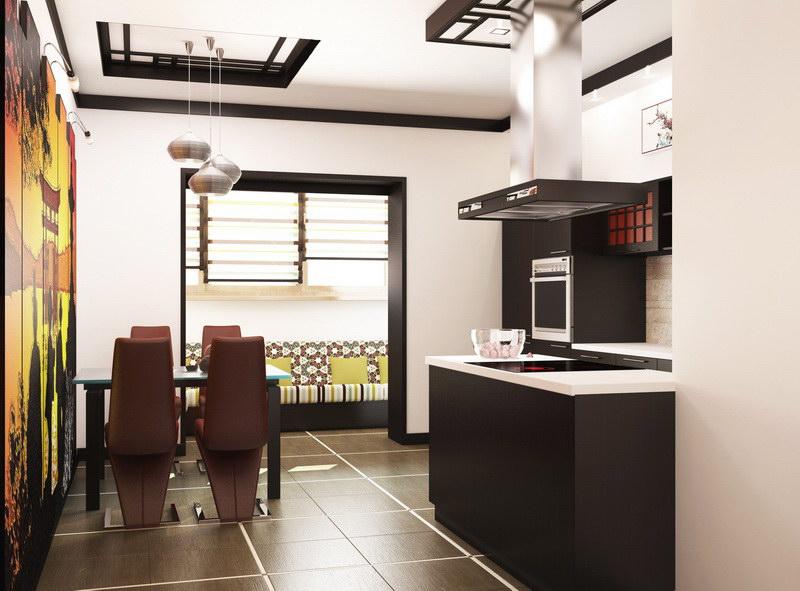 Bucatarie cu decor minimalist japonez