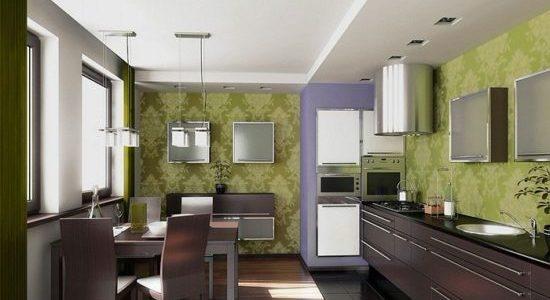 Bucatarie cu design verde masliniu