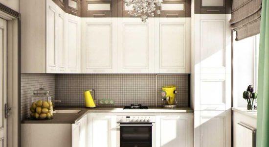 Bucatarie cu mobilier alb de colt