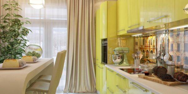 Bucatarie cu mobilier galben