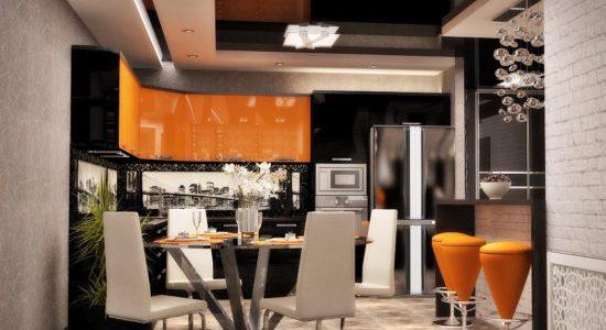 Bucatarie luxoasa cu decor negru portocaliu