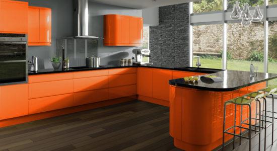 Bucatarie moderna cu mobilier portocaliu