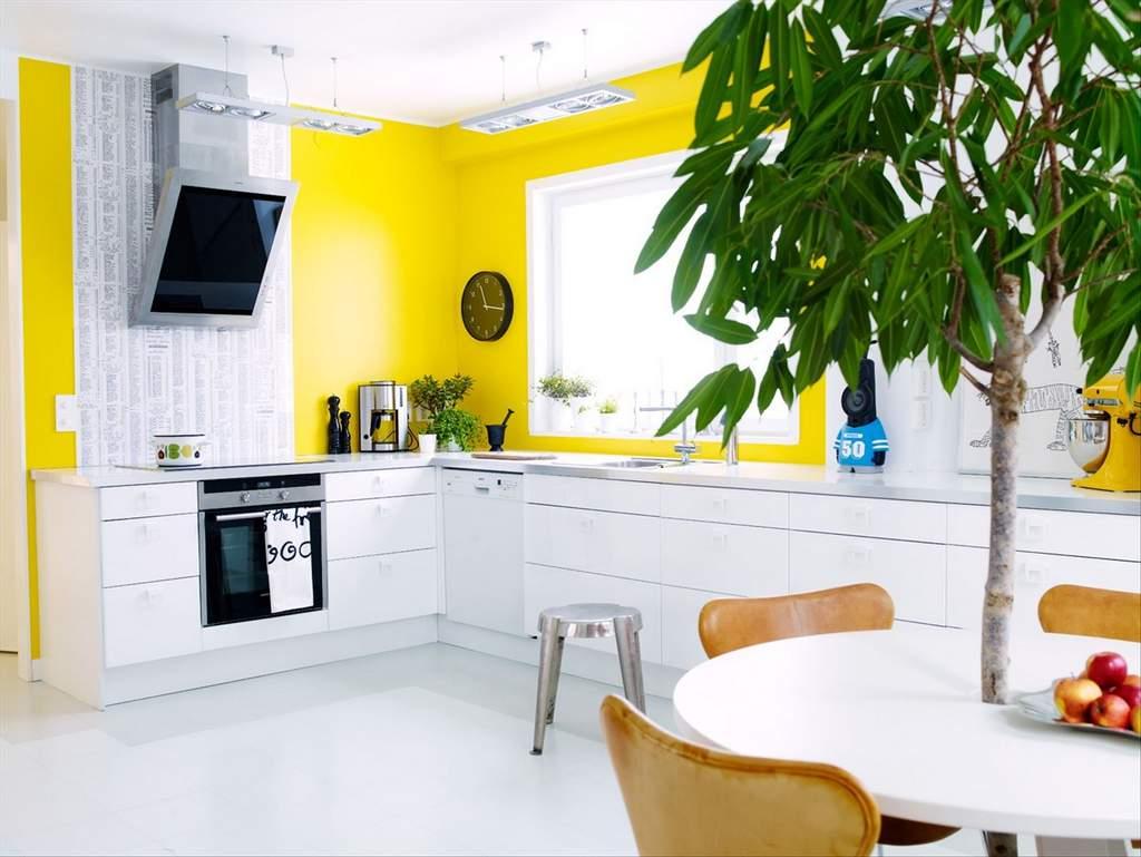 Bucatarie moderna cu pereti galbeni