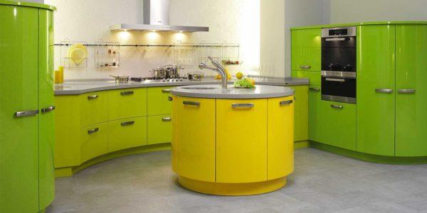 Bucatarie moderna galben-verde