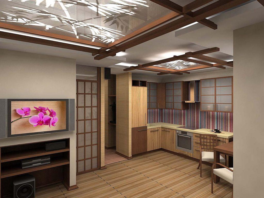 Decor japonez bucatarie larga