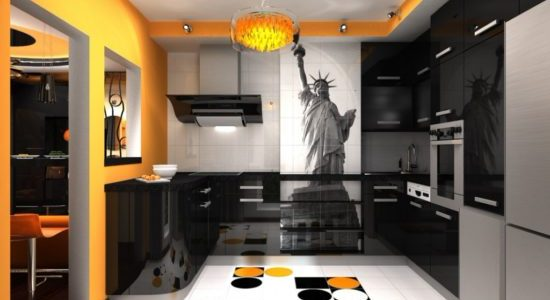Decor negru portocaliu bucatarie
