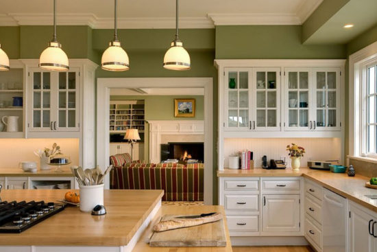 Design bucatarie verde maslinie