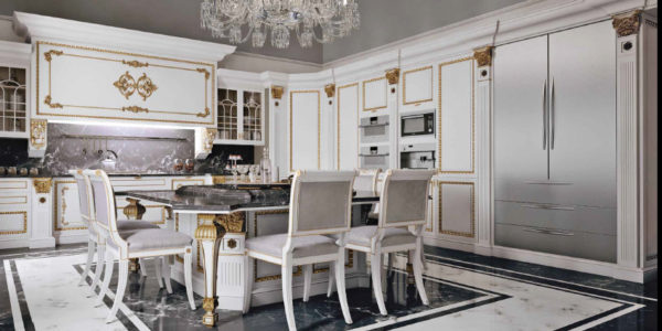 Design luxos bucatatie alba