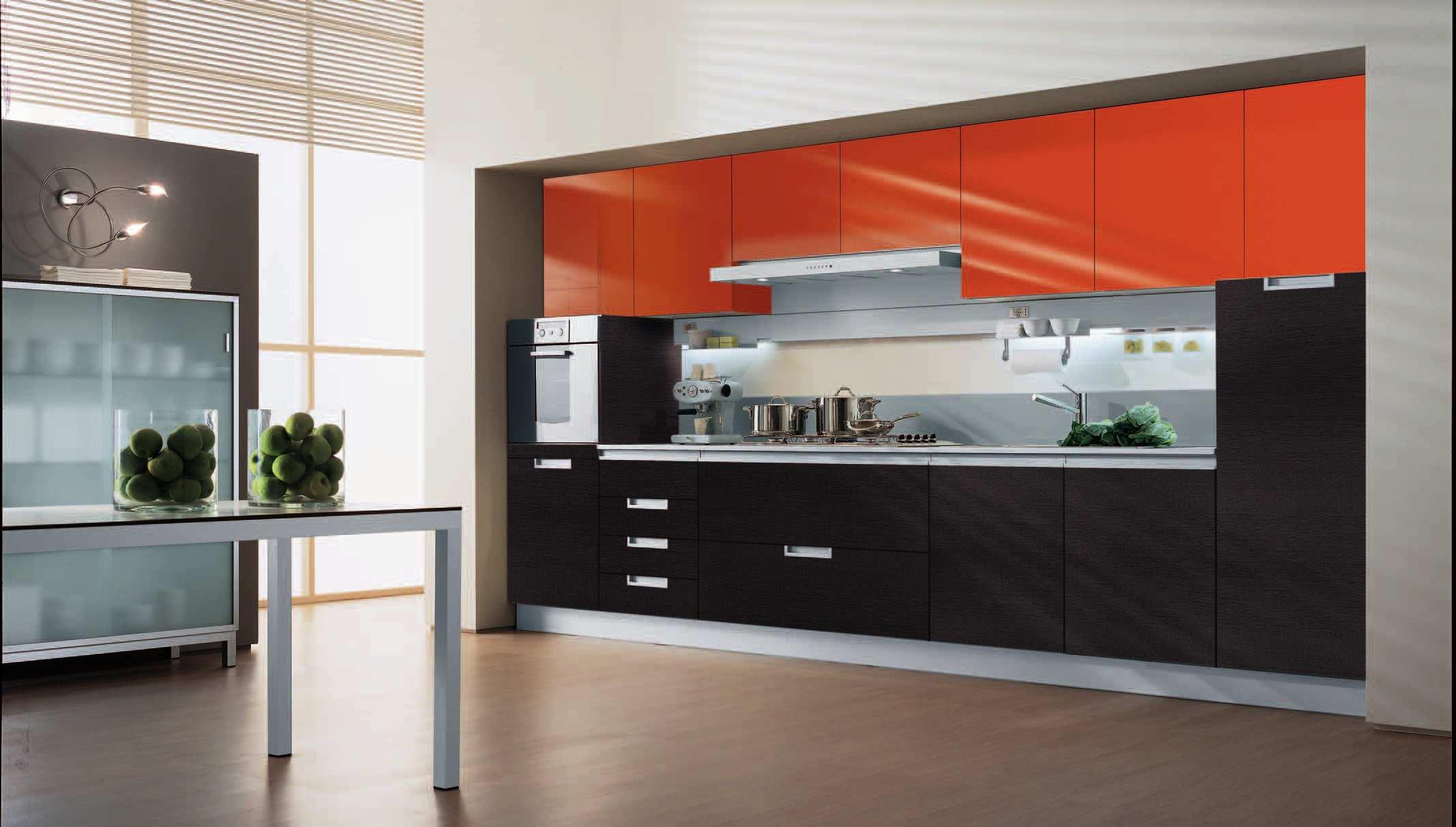 Mobilier negru portocaliu bucatarie