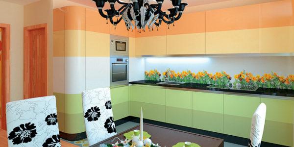 Mobila bucatarie moderna in nuante diferite de verde si portocaliu