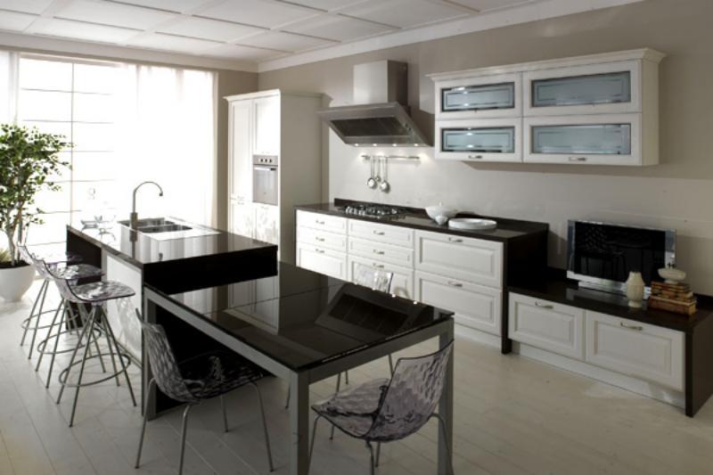 Amenajare bucatarie cu decor alb negru