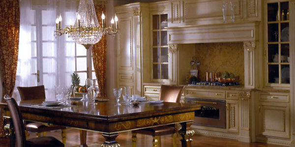 Bucataria extravaganta cu decor bej