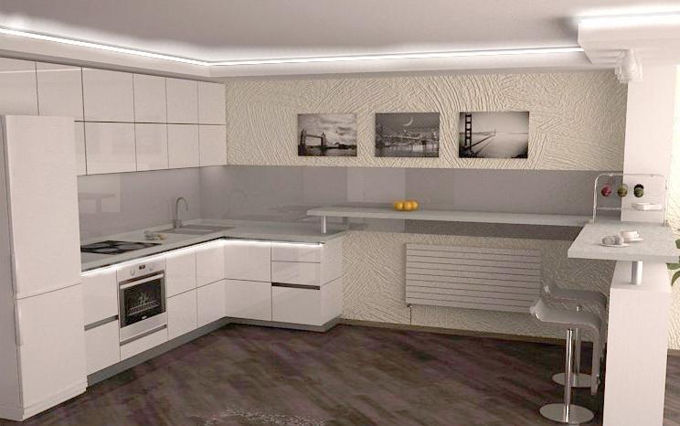 Bucatarie cu decor alb minimalist