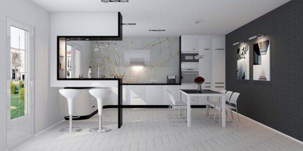 Bucatarie casa cu decor high-tech