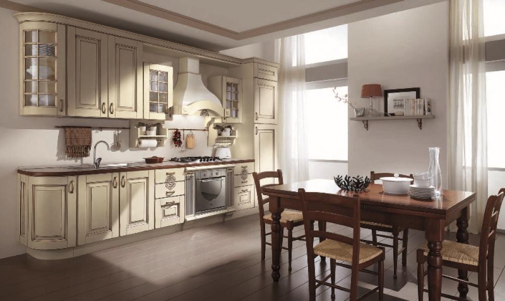 Bucatarie clasica cu decor alb-bej