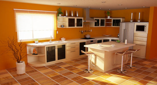 Bucatarie clasica cu decor portocaliu