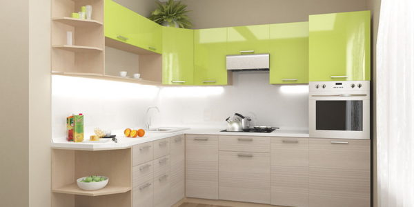 Bucatarie cocheta cu mobilier alb-verde