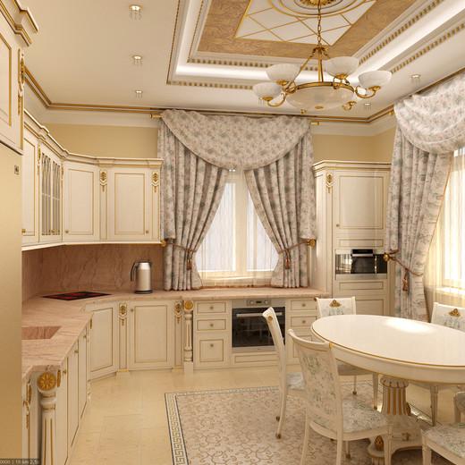 Bucatarie cu decor bej in stil clasic