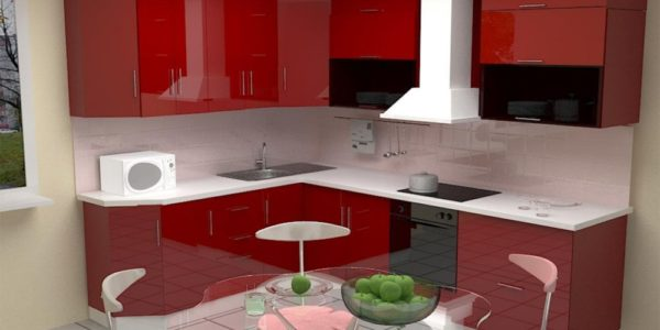 Bucatarie cu mobilier rosu de colt
