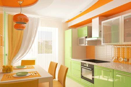 Bucatarie cu mobilier verde-portocaliu