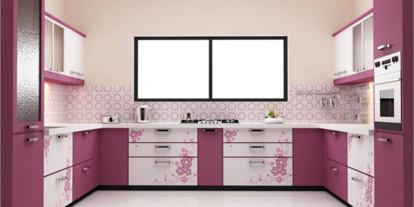 Bucatarie eleganta cu decor alb violet