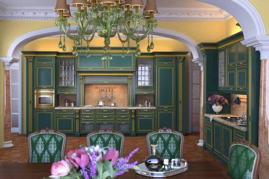 Bucatarie eleganta cu decor verde-portocaliu