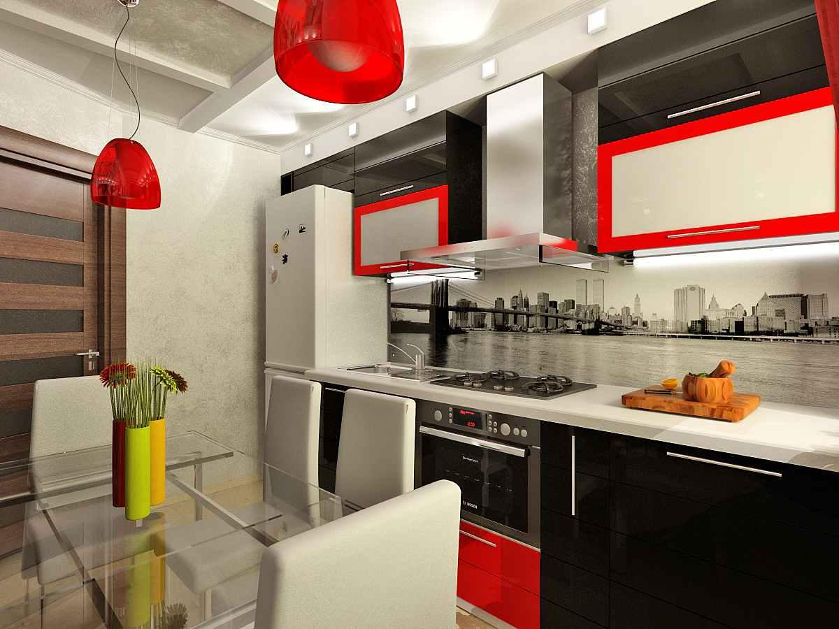 Bucatarie eleganta cu mobilier rosu-negru