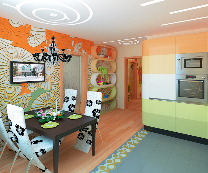 Bucatarie extravaganta cu decor verde-portocaliu