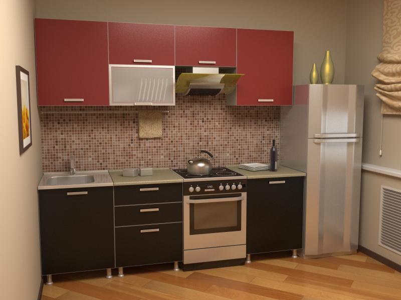 Bucatarie mica cu mobilier rosu-negru