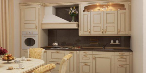 Bucatarie moderna cu decor alb-bej