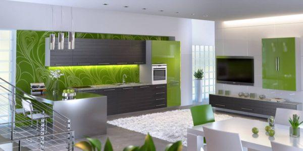 Bucatarie moderna cu decor alb-verde