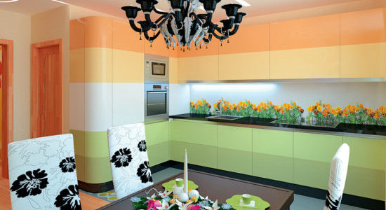 Bucatarie moderna cu decor verde-portocaliu