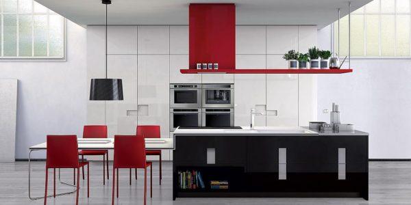 Bucatarie moderna cu design rosu-negru
