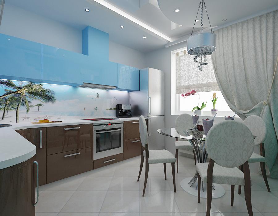 Bucatarie moderna cu mobilier maro turcoaz
