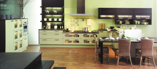Bucatarie moderne cu decor verde fistic