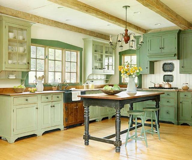 Bucatarie rustica verde fistic