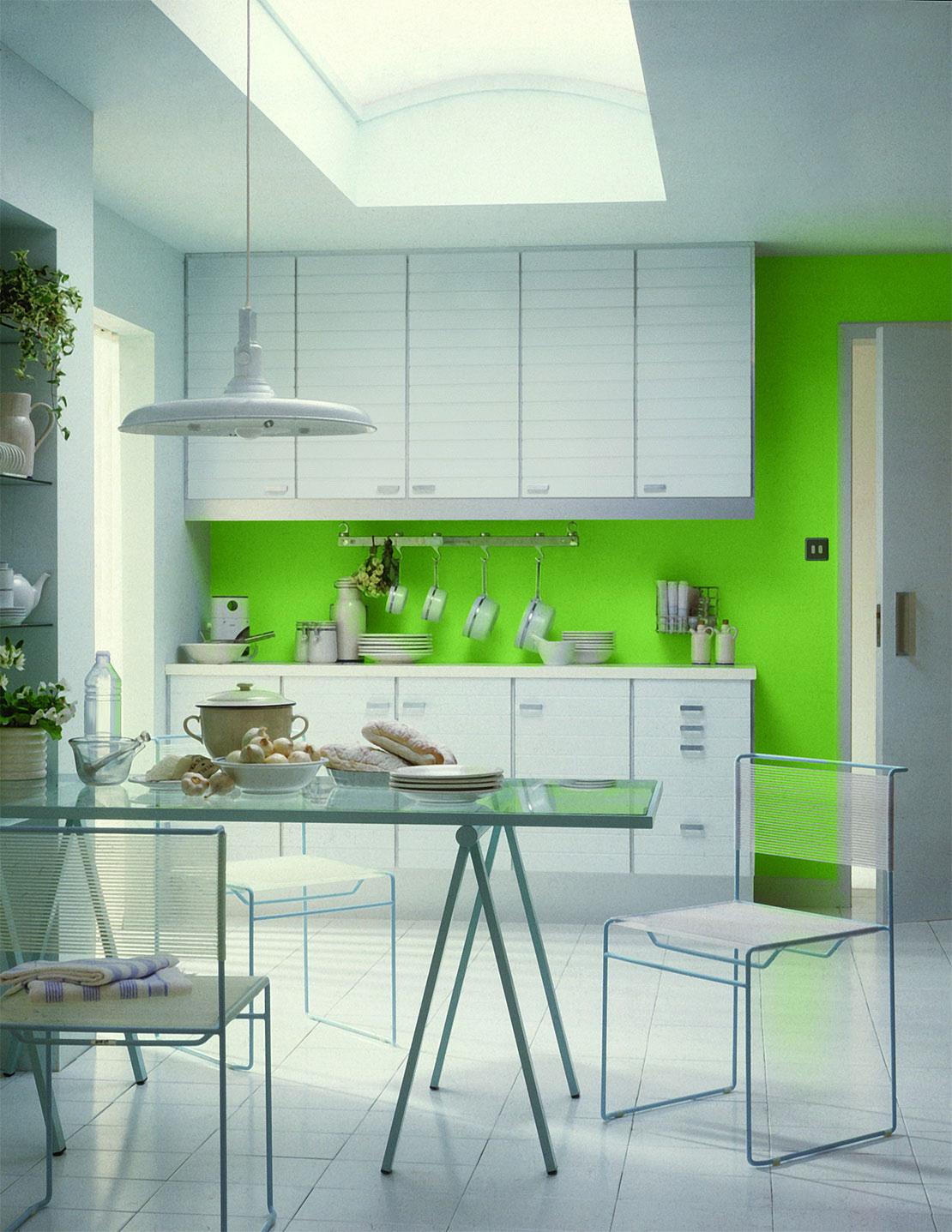 Decor alb-verde bucatarie cu dining
