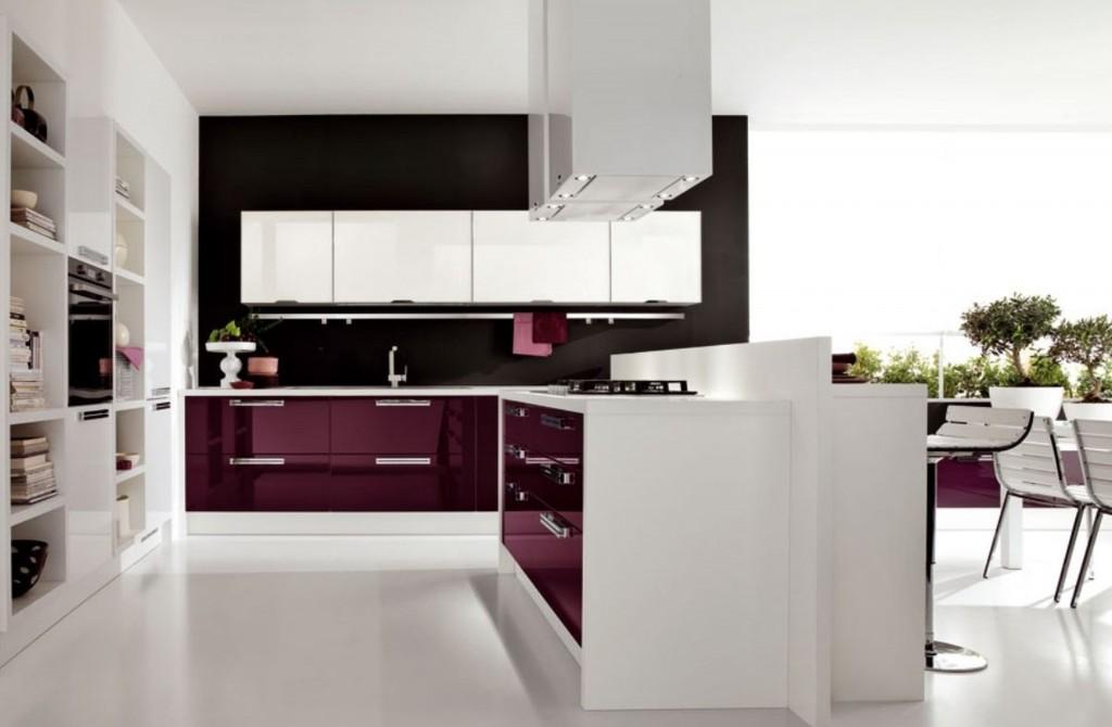 Decor alb violet bucatarie