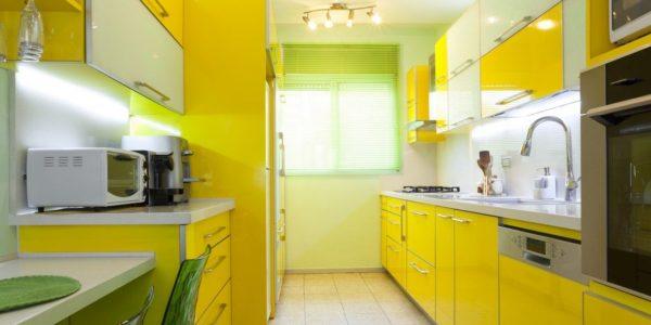 Decor galben verde bucatarie ingusta