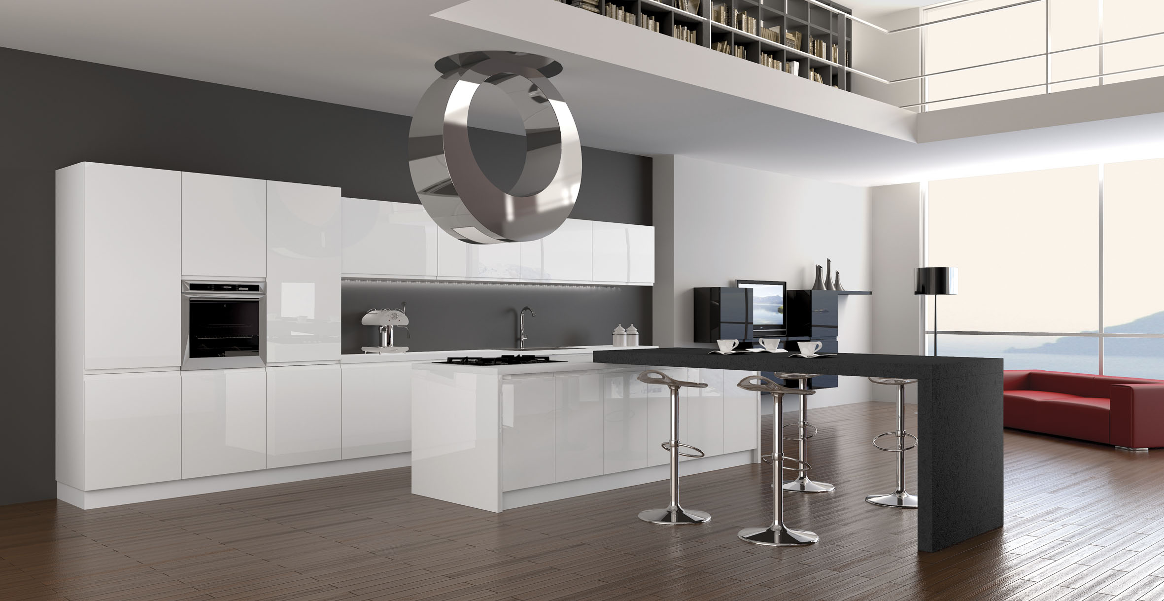 Decor high tech bucatarie casa
