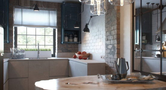 Decor industrial bucatarie cu dining