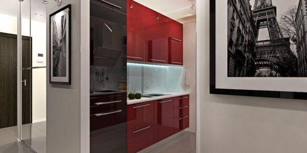 Decor modern bucatarie in rosu si negru