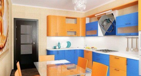 Decor portocaliu albastru bucatarie