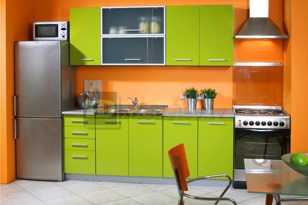 Decor portocaliu verde bucatarie