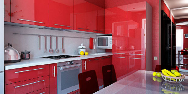 Mobilier rosu bucatarie moderna