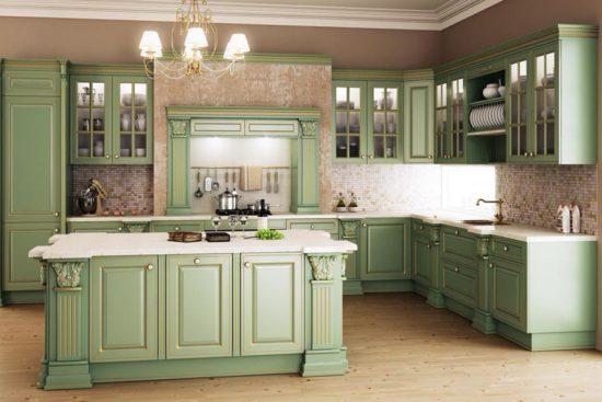 Decor verde fistic bucatarie eleganta