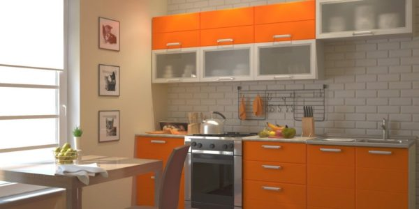 Design alb portocaliu bucatarie
