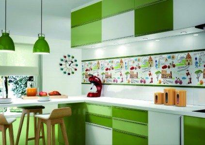 Design alb-verde bucatarie