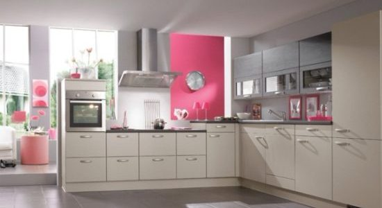 Design bej-roz bucatarie